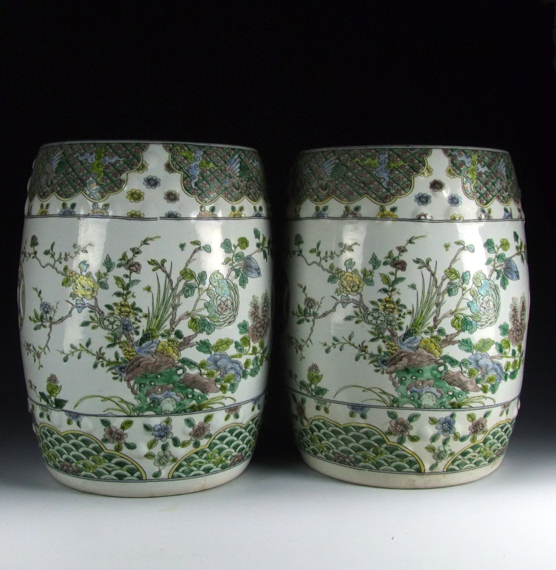 Pair Of Chinese Antique Plain Tri Colored Porcelain Garden